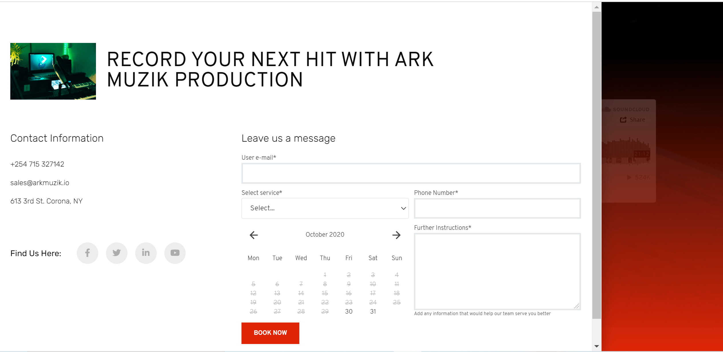 ArkMuzik Service Booking Forms