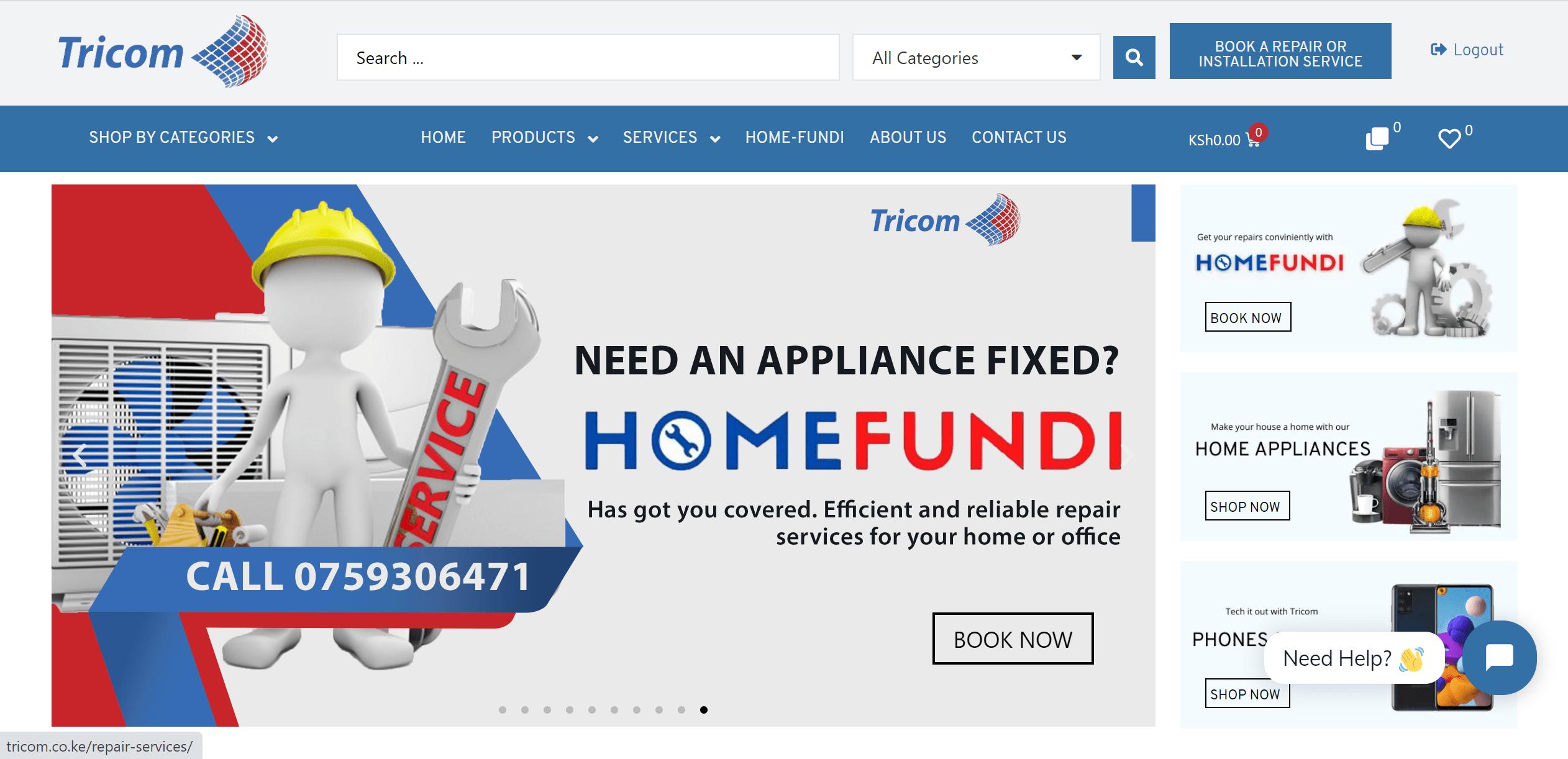 Tricom Technologies Ltd Landing Page