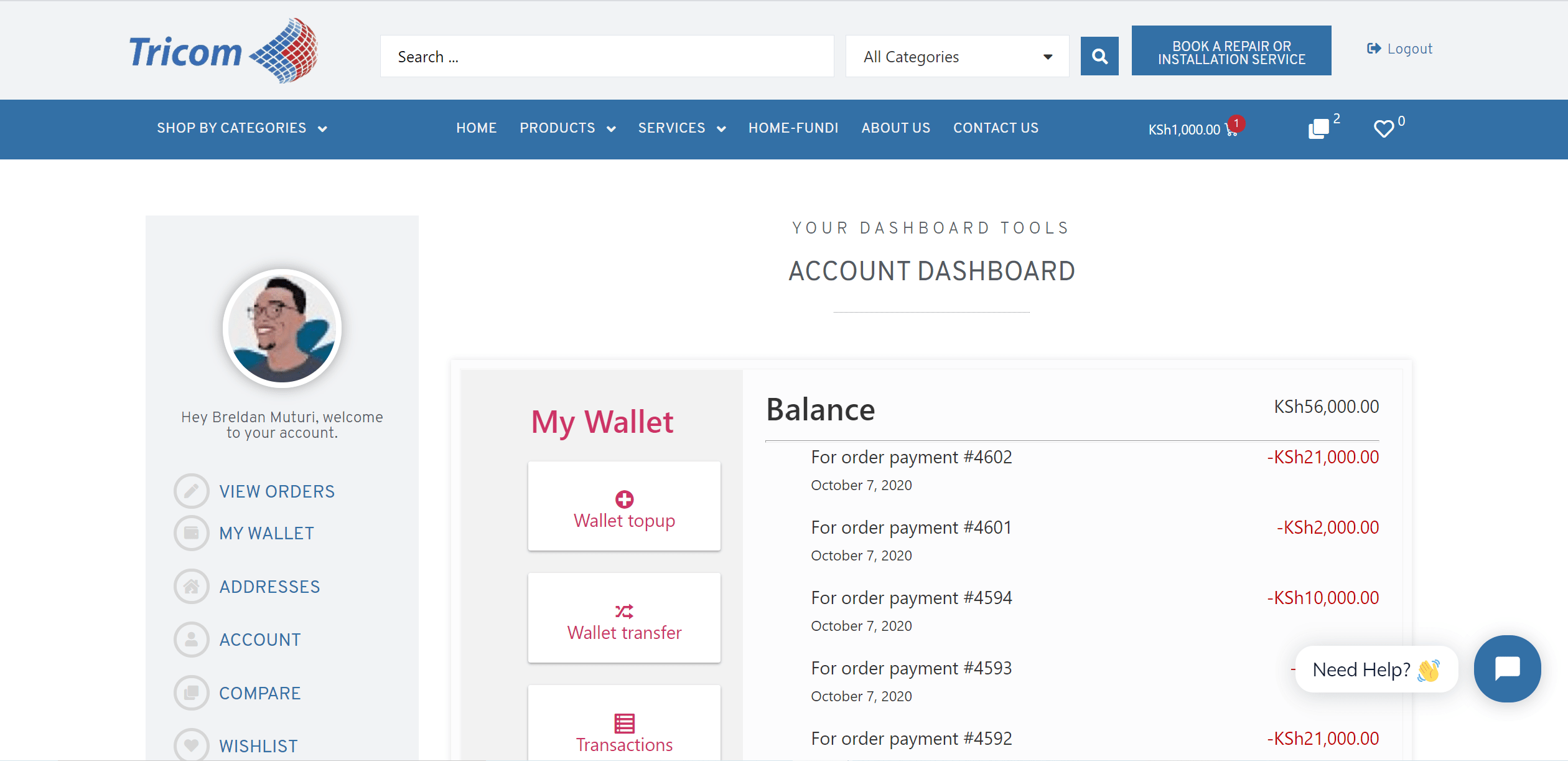 Tricom Technologies Ltd Wallet System in My Account Page
